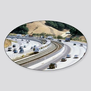Train and motorway, California Sticker (Oval)
