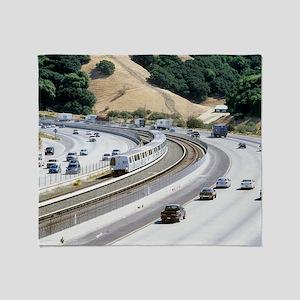 Train and motorway, California Throw Blanket
