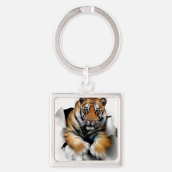 Tiger, artwork Square Keychain