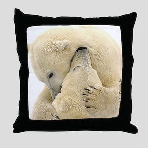 Polar Bear Hugs Throw Pillow