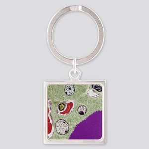 Thyroid follicle structures, TEM Square Keychain