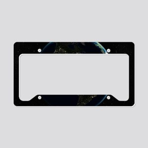 The Americas at night, satell License Plate Holder