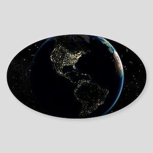 The Americas at night, satellite im Sticker (Oval)