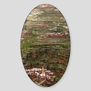 Terraced hillside in Morocco Sticker (Oval)