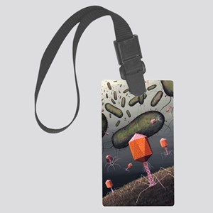 T-bacteriophages attacking E. co Large Luggage Tag