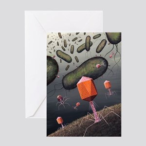 T-bacteriophages attacking E. coli Greeting Card