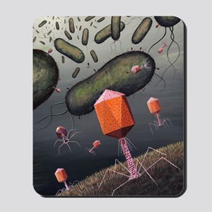 T-bacteriophages attacking E. coli Mousepad