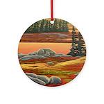 Polar Bear Art Round Ornament