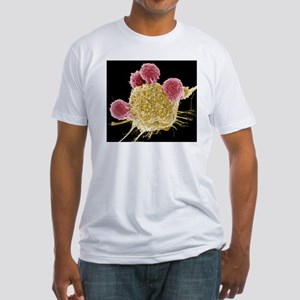 T lymphocytes and cancer cell, SEM Fitted T-Shirt