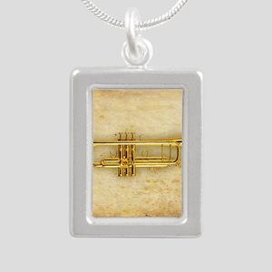 Trumpet (square) Silver Portrait Necklace