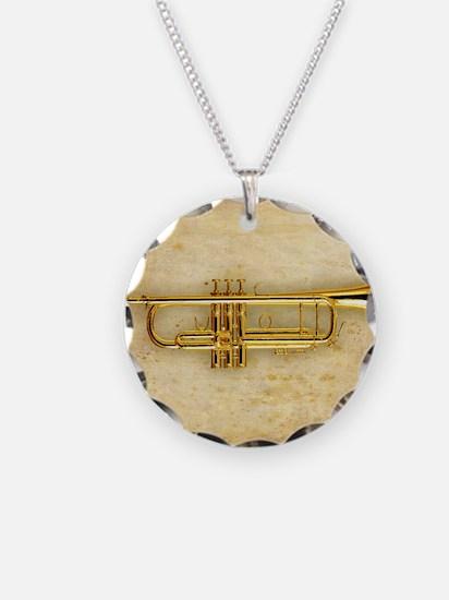 Trumpet (square) Necklace Circle Charm