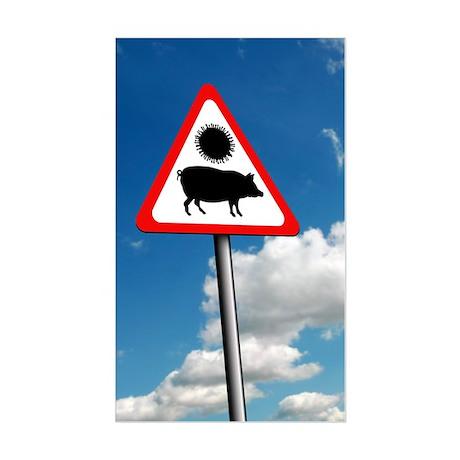 Swine flu warning, conceptual Sticker (Rectangle)
