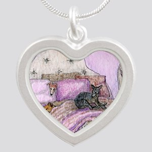 Sighthounds slumber party Silver Heart Necklace