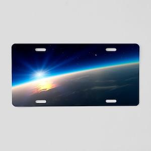 Sunrise over Earth, artwork Aluminum License Plate