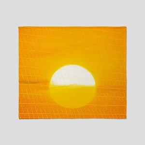 Sunset reflection on solar panel, ar Throw Blanket