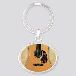 Acoustic Guitar worn (square) Oval Keychain