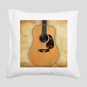 Acoustic Guitar worn (square) Square Canvas Pillow