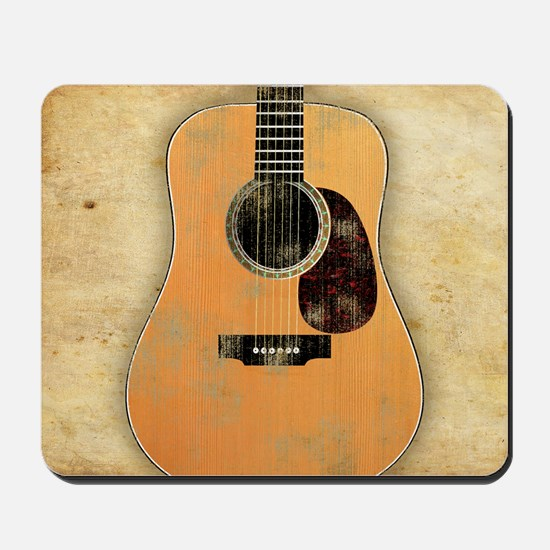 Acoustic Guitar worn (square) Mousepad