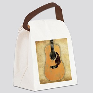 Acoustic Guitar worn (square) Canvas Lunch Bag