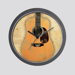 Acoustic Guitar worn (square) Wall Clock