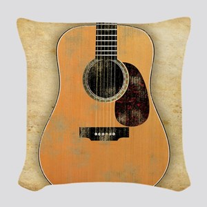 Acoustic Guitar worn (square) Woven Throw Pillow