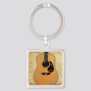 Acoustic Guitar worn (square) Square Keychain
