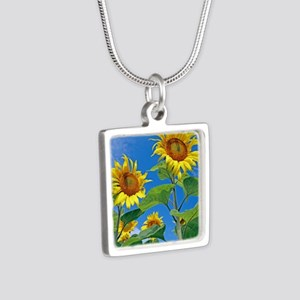 Sunflowers (Helianthus sp. Silver Square Necklace
