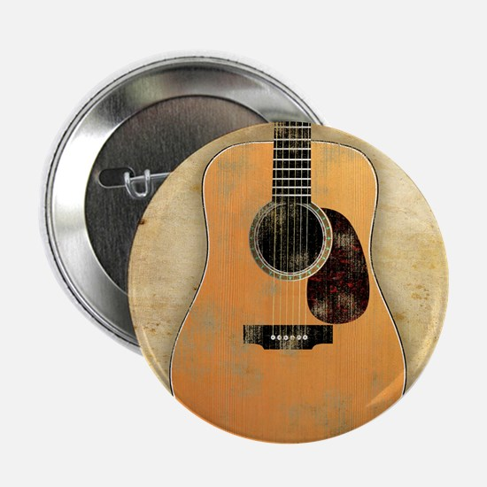 "Acoustic Guitar worn (square) 2.25"" Button"