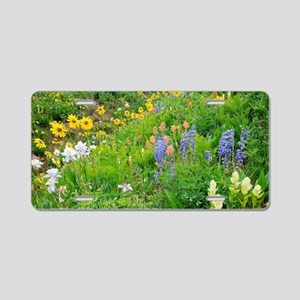 Summer mountain flowers Aluminum License Plate