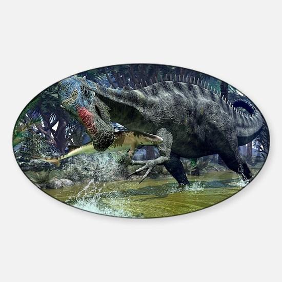 Suchomimus dinosaur hunting, artwor Sticker (Oval)