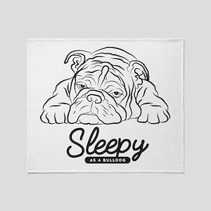 Sleepy Bulldog Throw Blanket