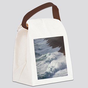 Storm waves at Chesil Beach Canvas Lunch Bag