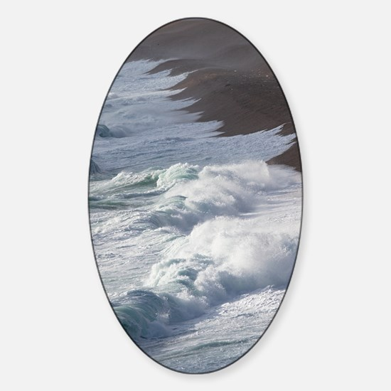 Storm waves at Chesil Beach Sticker (Oval)