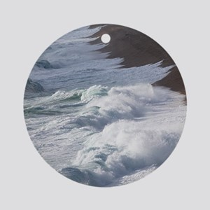 Storm waves at Chesil Beach Round Ornament
