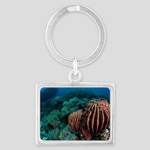 Sponges on coral reef Landscape Keychain