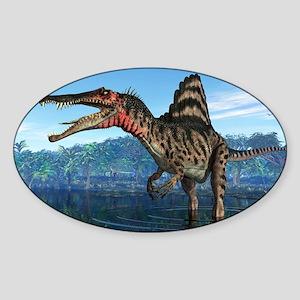 Spinosaurus dinosaur, artwork Sticker (Oval)