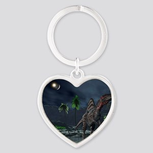 Spinosaurus witnessing a lunar impa Heart Keychain