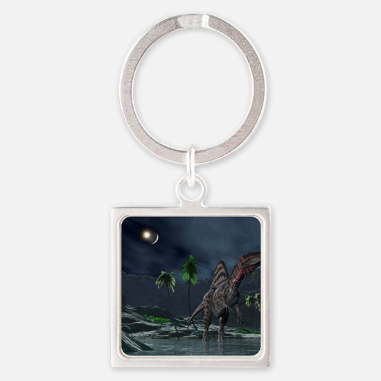Spinosaurus witnessing a lunar imp Square Keychain