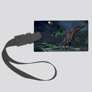 Spinosaurus witnessing a lunar i Large Luggage Tag
