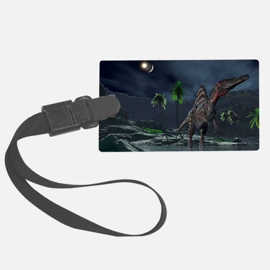 Spinosaurus witnessing a lunar i Luggage Tag