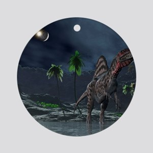 Spinosaurus witnessing a lunar impa Round Ornament