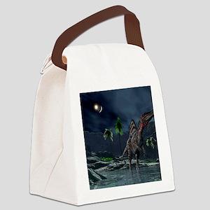 Spinosaurus witnessing a lunar im Canvas Lunch Bag
