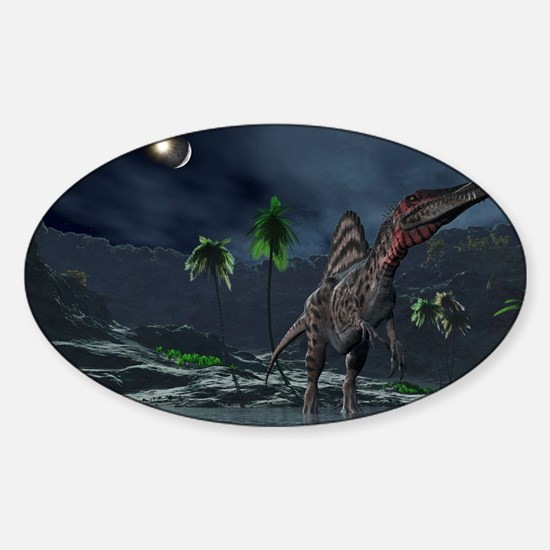 Spinosaurus witnessing a lunar impa Sticker (Oval)