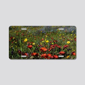 South African wildflowers Aluminum License Plate