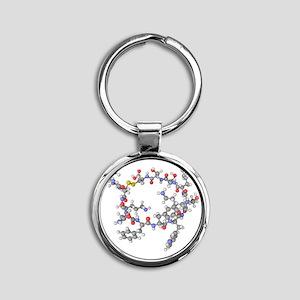 Somatostatin hormone molecule Round Keychain