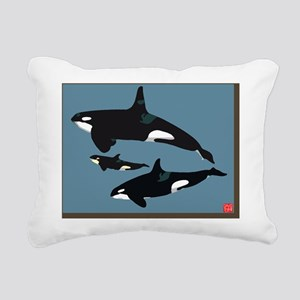 Orca family with signatu Rectangular Canvas Pillow