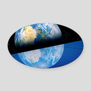 Solar power satellite, artwork Oval Car Magnet