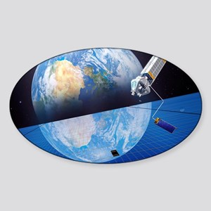 Solar power satellite, artwork Sticker (Oval)