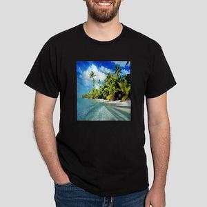 Island Beach side Flip Flops Dark T-Shirt