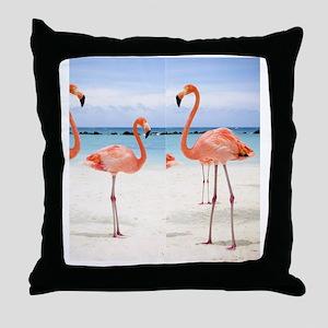 Flamingo Flip Flops Throw Pillow